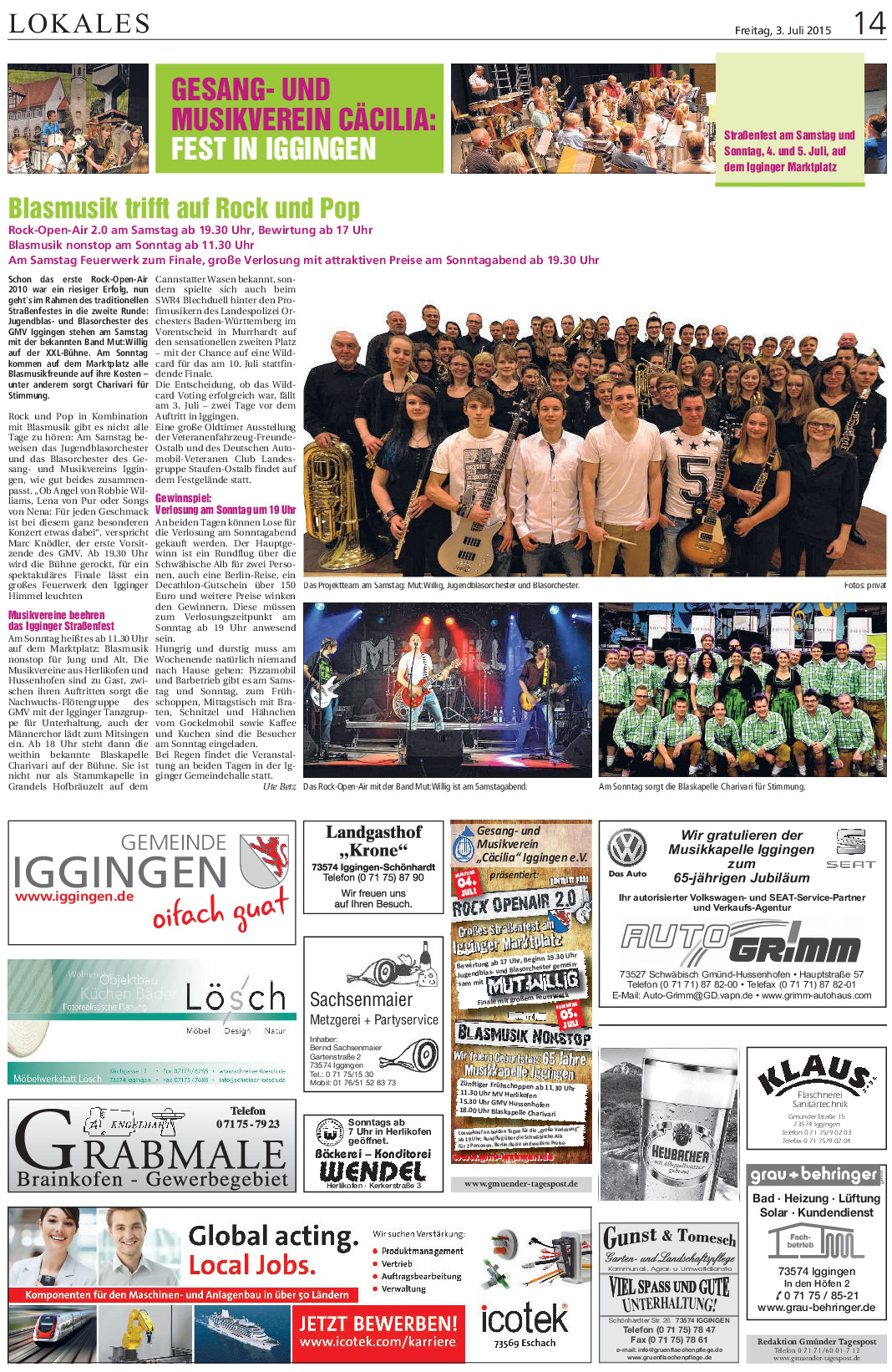Gmünder Tagespost Kollektiv vom 3.7. Strassenfest 2015
