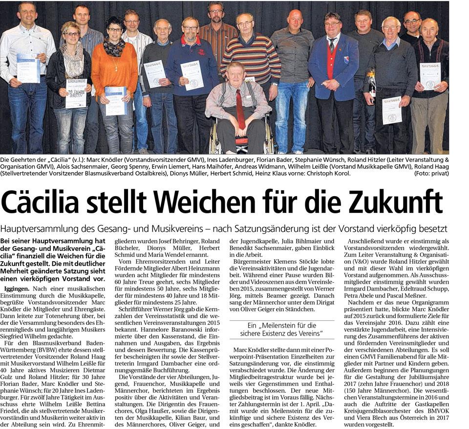 Mitgliederversammlung 2016 Zeitungsartikel Gmünder Tagespost