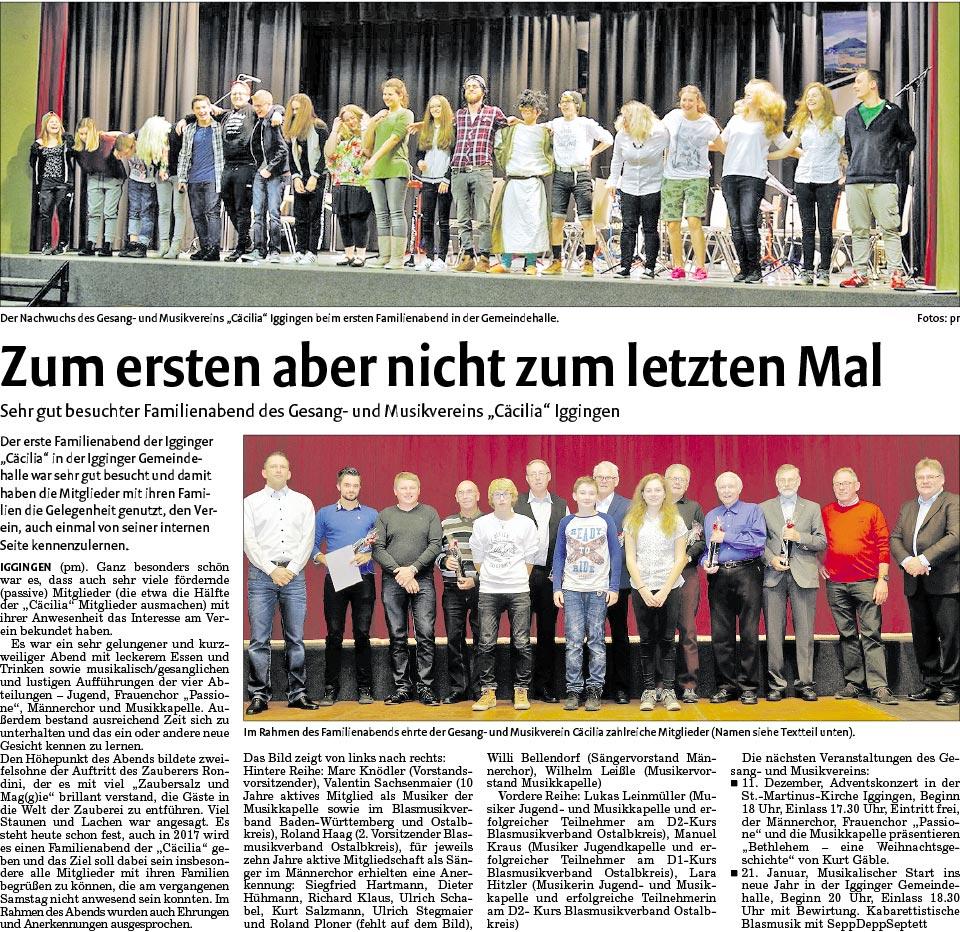 Artikel aus der Rems Zeitung vom 08.11.2016 zum Familienabend