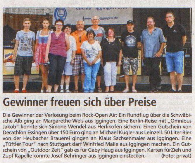 Gmünder Tagespost vom 8.7.2015 - Gewinner der Verlosung vom 5.7.