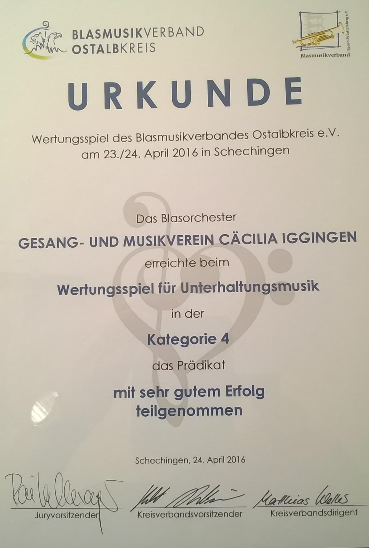Urkunde vom Wertungsspiel vom 23.04.2016