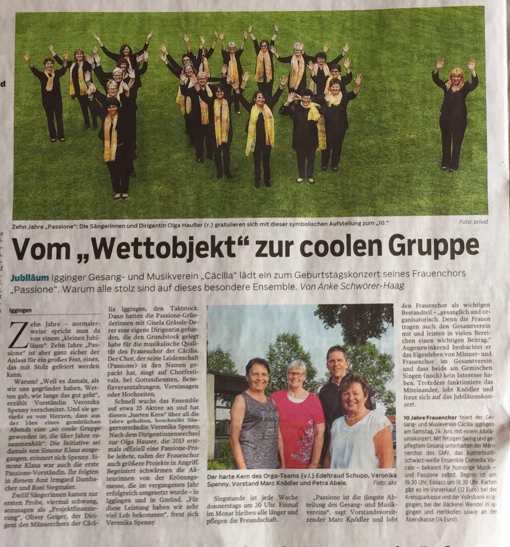 Artikel aus der Gmünder Tagespost vom 17.06.2017 - 10 Jahre Frauenchor Passione