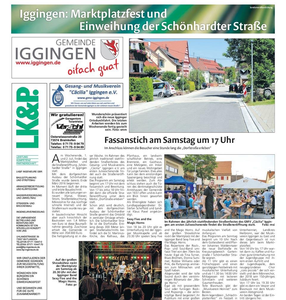 Artikel aus dem Gmünder Wochenblatt vom 28.06.2017