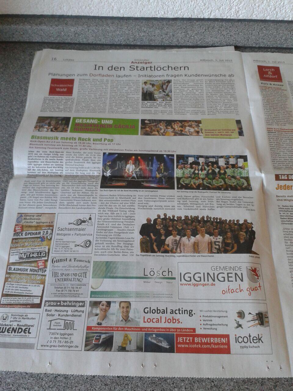 Kollektiv Gmünder Anzeiger der Gmünder Tagespost vom 1.7.