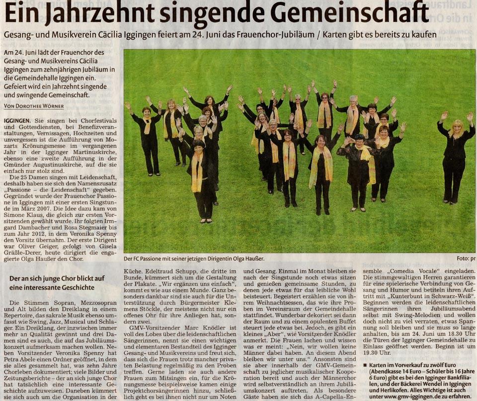 Remszeitung vom 07.06.2017 - 10 Jahre Frauenchor Passione