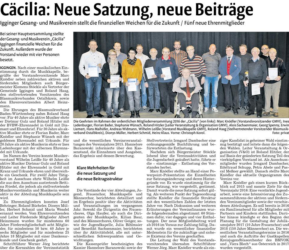 Mitgliederversammlung 2016 Zeitungsartikel Remszeitung