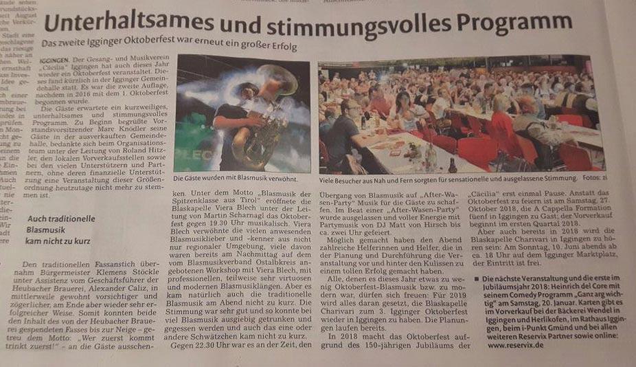 Rems-Zeitung Nachbericht vom 27.10.2017