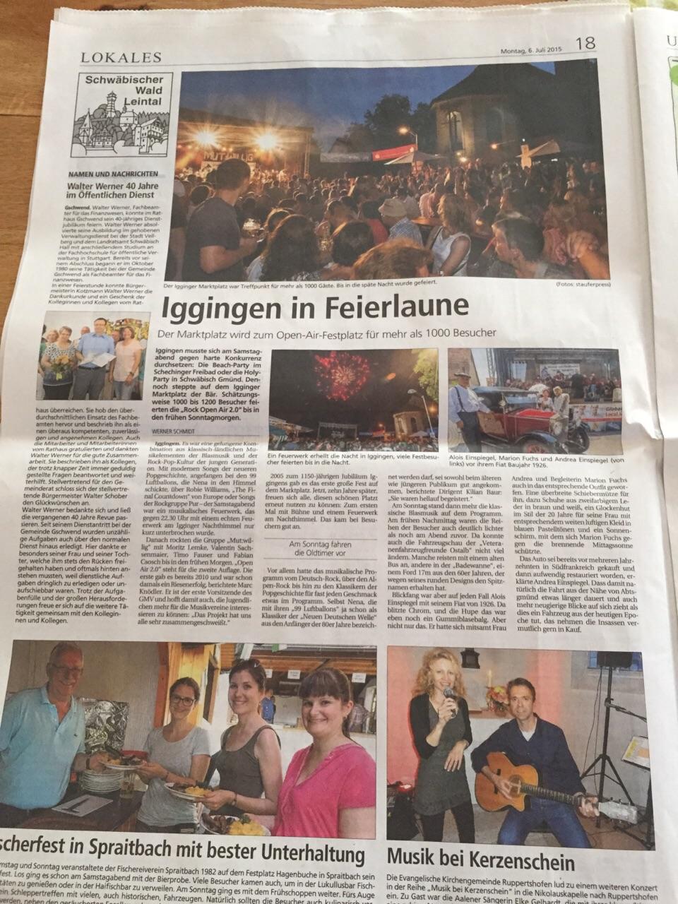 Berichterstattung Gmünder Tagespost vom 6.7.