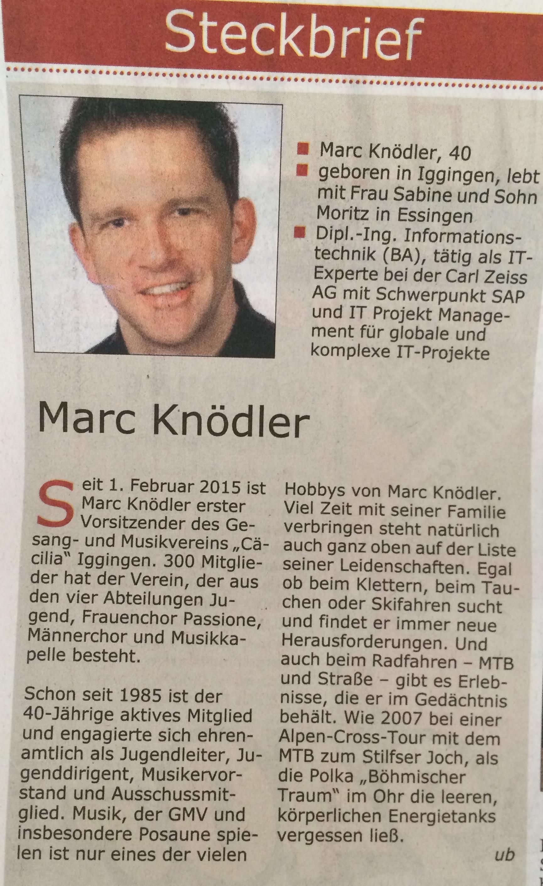 Marc Knödler: Neuer 1. Vorsitzender des GMV Iggingen