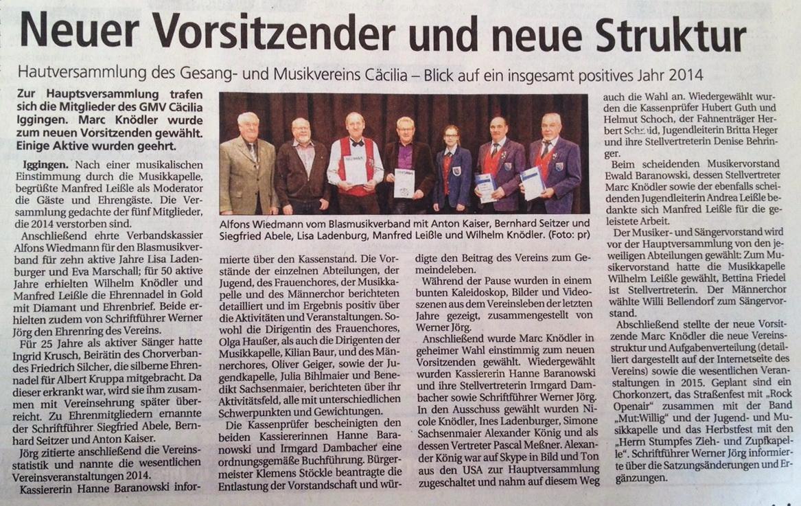 Bericht der Gmünder Tagespost vom 03.03.2015