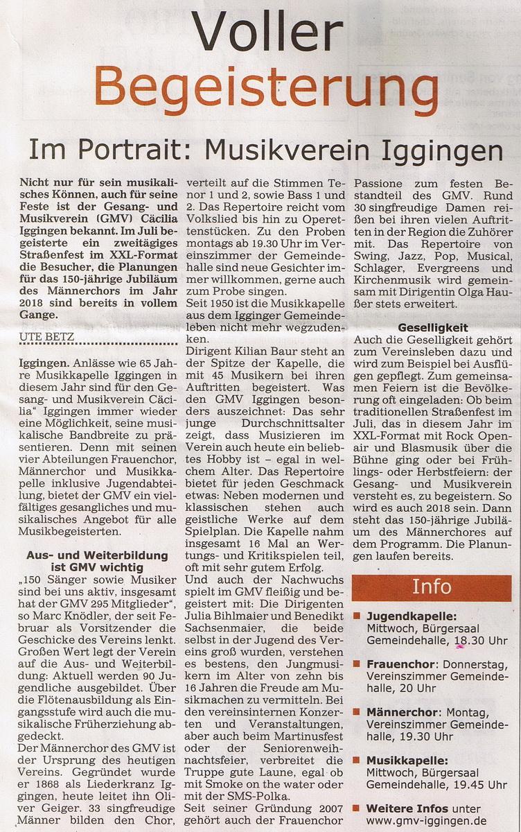 Bericht im Gmünder Anzeiger vom 09.12.2015