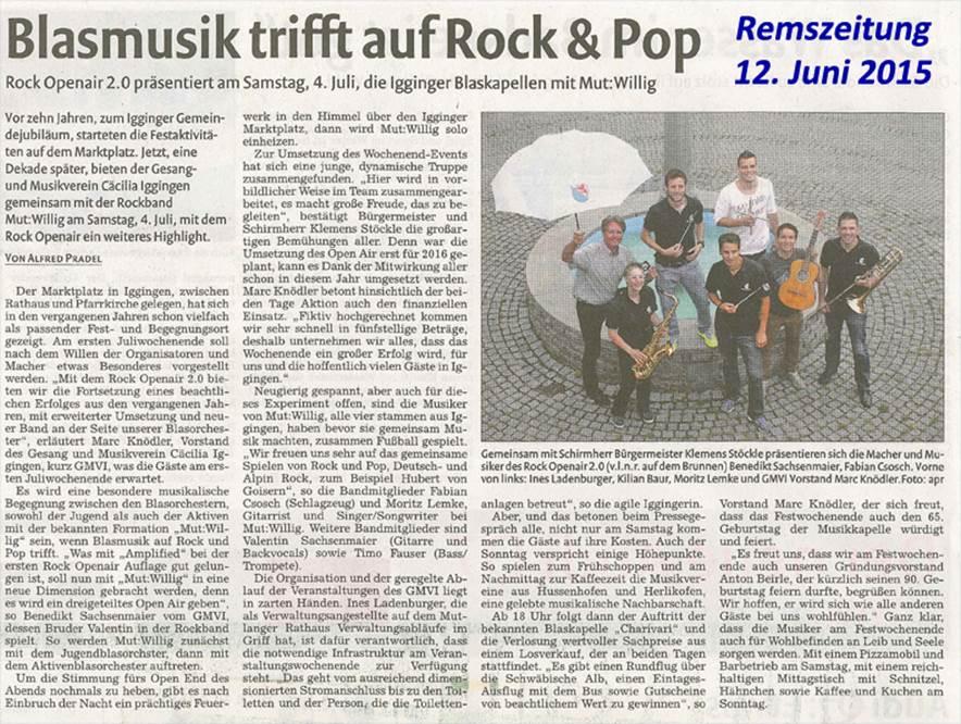 Zeitungsartikel Rock Openair Remszeitung 12.06.2015