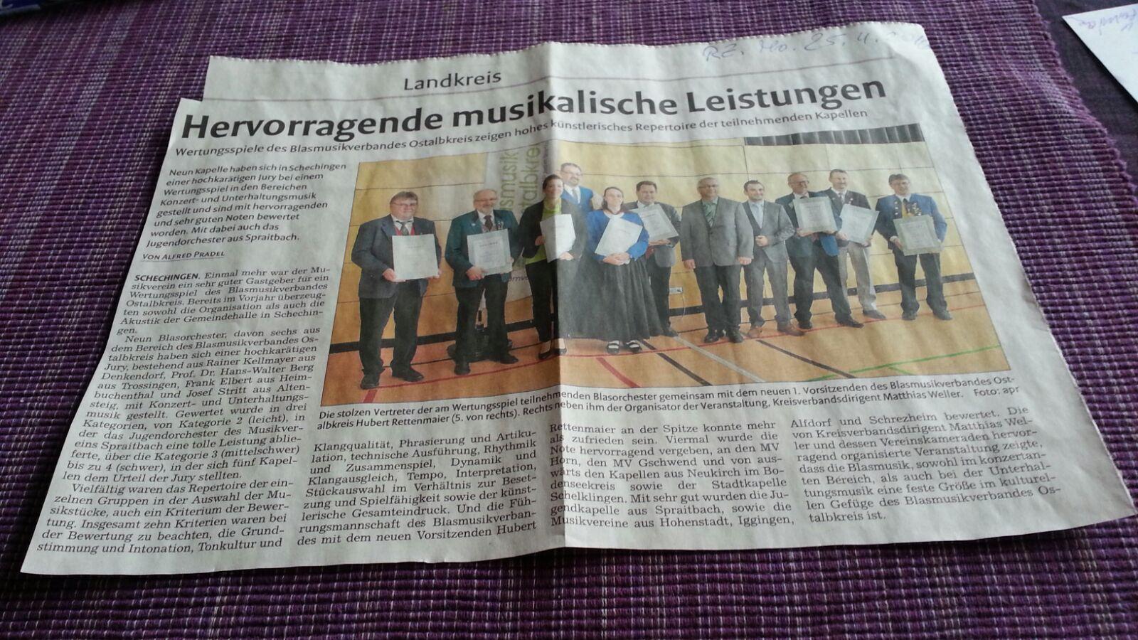 Zeitungsartikel aus der Remszeitung vom 25.04.2016